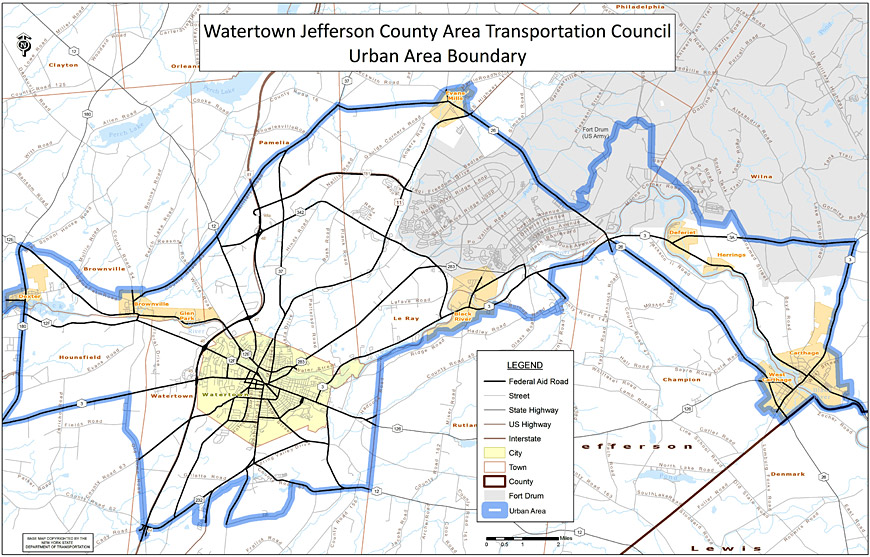 Watertown FHWA Urban Area Boundary